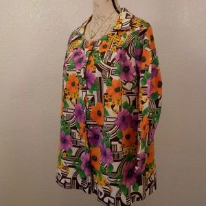 Handmade Floral Blouse M Pink Yellow Button Up